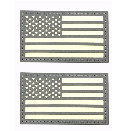 2x3.5 Reflective Us Flag Glow in The Dark Patch Hook-Fastener Backing (2 Pack)