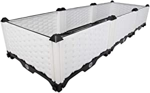 Hershii Plastic Rectangular Raised Garden Bed Indoor Outdoor Planter Box Kit Container for Growing Vegetables, Plants, Herbs, Flowers & Succulents - White - 46.06 X 15.35 X 8.66 Inches
