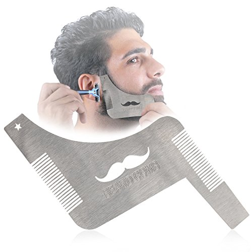 Beard Shaping Tool with Comb for Multiple Beard Styles,Stainless Steel Beard Grooming Kit with Handle for men,Easy Shape Beard Template for cheek/neck/jaw - Jaw Shapes Line