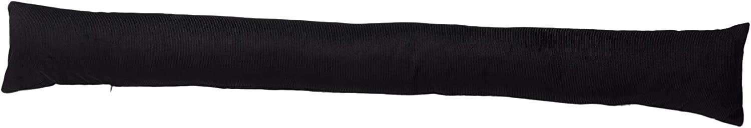 Classic Home Store Corduroy Draught Excluder French Patio Door Extra Long Cord Cotton Draft Stopper 5ft (Black)