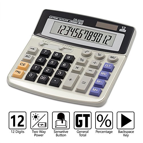 Calculator,12-Digit Desktop Basic Calculator, Solar Battery Dual Power with Large LCD Display and Large Buttons Office Calculator by Ebristar -