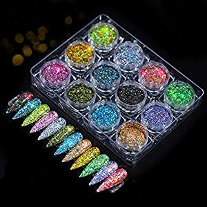 Hanzel Holographic Nail Powder Set – 12 Jars Flashing Crystal Sequins,Glitter Aurora Chameleon Powder. Manicure Pigment…