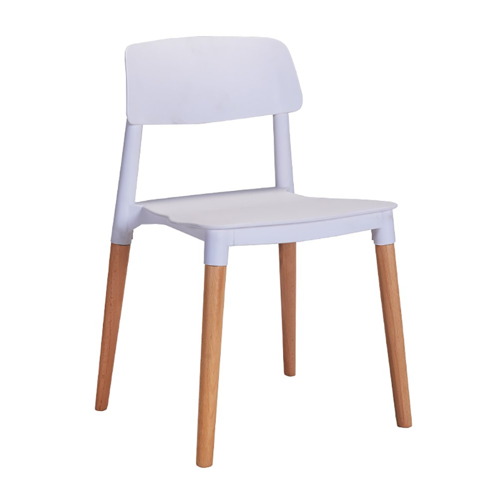 PPプラスチックダイニングチェアオフィス家庭用カフェビストロ商業用木製背もたれカジュアル現代的なシンプルチェア (色 : 白, サイズ さいず : Set of 2) B07F2TCBHV Set of 2|白 白 Set of 2