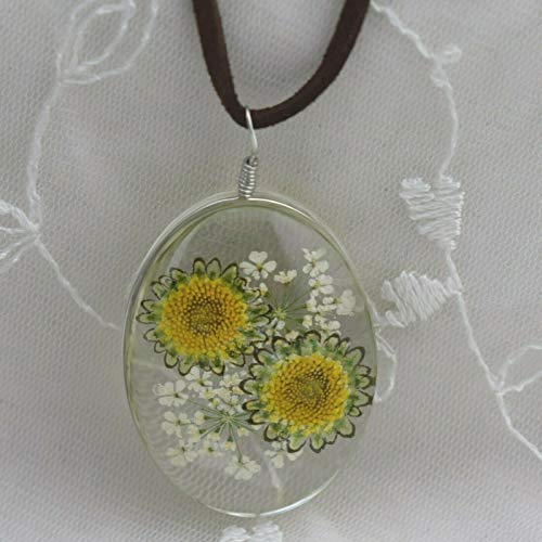 Real Flower Pendant Necklace For Women White Yellow Blossoms Leather Cord Jewelry New