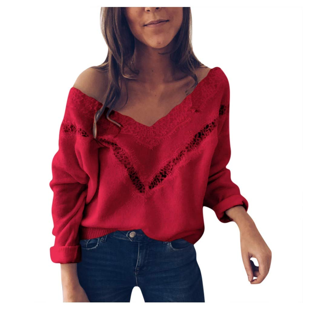 SHUSUEN Women's Loose Knitted Sweater Long Sleeve V-Neck Ripped Pullover Lace Sweaters Hollow Tops Red by SHUSUEN