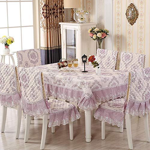 9pcs /set Rectangular Table Cloth Jacquard Flower Edge Wedding Tablecloth with Chair Covers & Mats Home Decoration Table Cover  pugongyingzise B07RKSDWX1