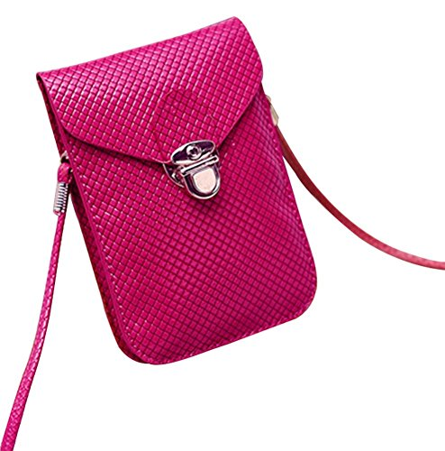Square Single Crossbody Peiji Bag Red PU Leather Pouch Surface Shoulder Embossed Bright Cellphone Mini Rose RwZYUZfxzq