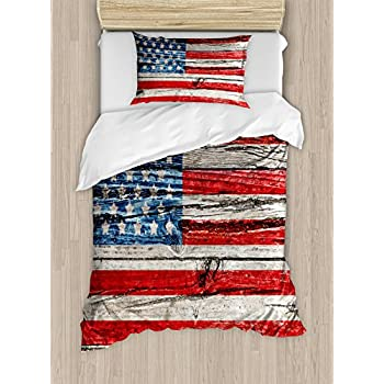 Amazon Com I Love America Blue American Flag Bedding