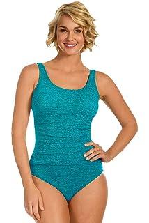 6a8c5be192 Krinkle Chlorine Resistant Aruba Long Torso Shirred One Piece Swimsuit Size  14L Blue