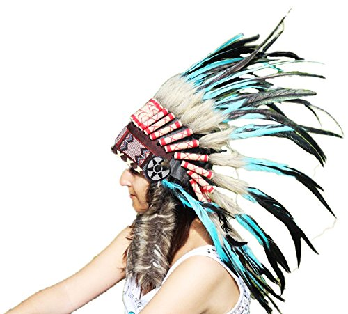 The World of Feathers Ready for Halloween.N55-Light Blue/Turquoise & Dark Feather Headdress/Warbonnet -