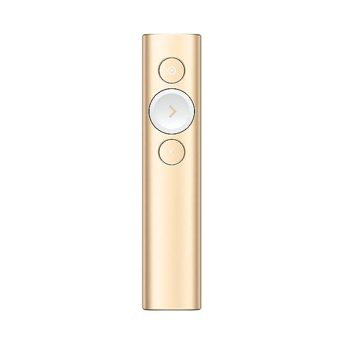 Logitech Spotlight Telecomando per Presentazioni, Evidenziazione Digitale con Bluetooth, Compatibilità Universale, Portata 30 m e Ricarica Rapida, Oro
