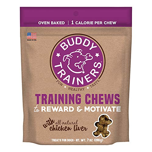 Trainers Buddy - Buddy Biscuits Training Chews, Natural Chicken Liver, Baked Dog Treats, 1 Calorie Per Treat, 7 oz