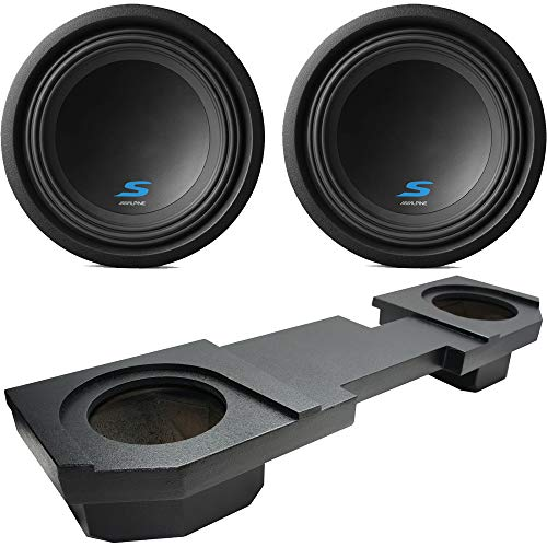Compatible with 2002-2015 Dodge Ram Quad or Crew Truck Alpine Type S S-W10D2 Dual 10″ Rhino Coated Sub Box Enclosure – Final 2 Ohm