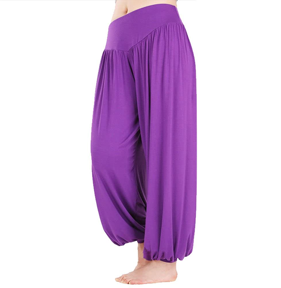 075b08a7ee594 Hoerev Brand Super Soft Modal Spandex Harem Yoga Pilates Pants - Purple -:  Amazon.co.uk: Clothing