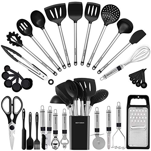 Kitchen Utensil Set-Silicone Cooking Utensils-33 Kitchen Gadgets & Spoons for Nonstick Cookware-Silicone and Stainless…