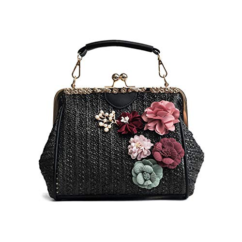 (NOTAG Crossbody Bags for Women Staw Woven Shoulder Handbag Summer Top Handle Purses Satchel (Black))