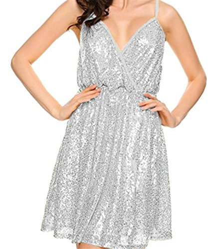 M&S&W Women's Deep V Neck Sleeveless Sequined Cocktail Flare Dress White XL (Sequined Surplice)