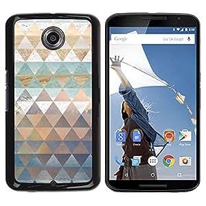 TopCaseStore / la caja del caucho duro de la cubierta de protección de la piel - Pattern Triangle Shapes Gold - Motorola NEXUS 6 / X / Moto X Pro