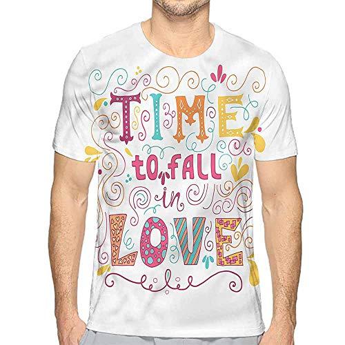 Mens t Shirt Romantic,Time to Fall in Love HD Print t Shirt XL