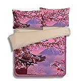 FAITOVE Mount Fuji Cherry Blossoms Microfiber 3pc 90''x90'' Bedding Quilt Duvet Cover Sets 2 Pillow Cases Queen Size