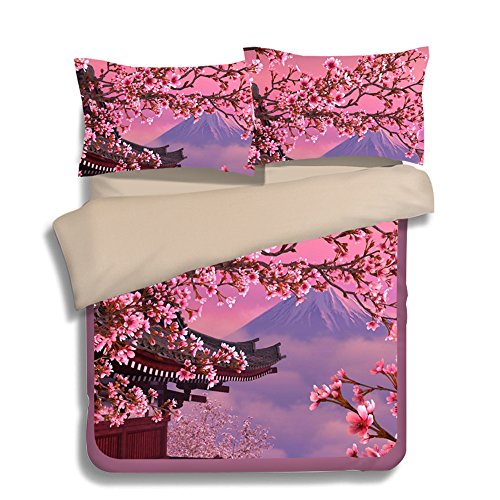 FAITOVE Mount Fuji Cherry Blossoms Microfiber 3pc 90''x90'' Bedding Quilt Duvet Cover Sets 2 Pillow Cases Queen Size by FAITOVE