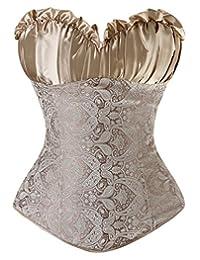 Durcoo Women's Princess Creamy Lvory Renaissance Overbust Corset Top Set