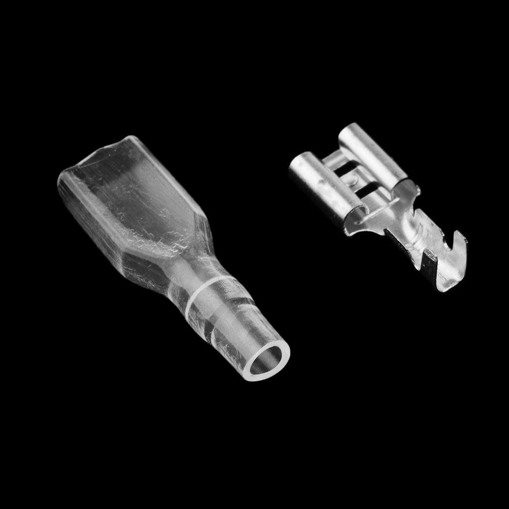 Dolity 100 Sets 4.8mm Crimp Terminal Female Spade Connectors for Motorcycle Car ATV
