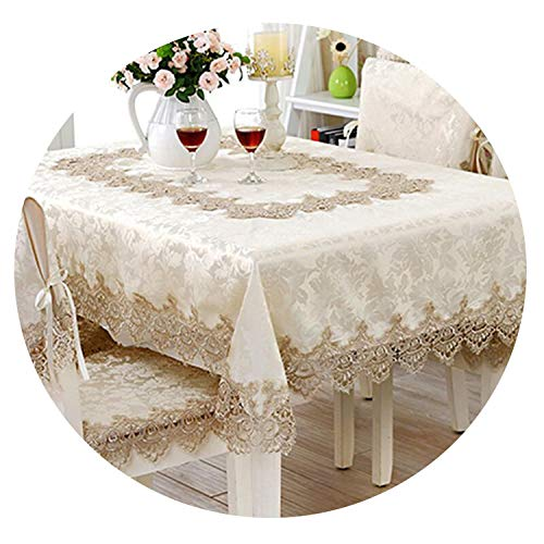 Be fearless European Jacquard Table Cloth Classical Rectangle Tablecloths for Events Chair Covers Lace Table Microwave Oven Cover Nappe Noel,110X110cm]()