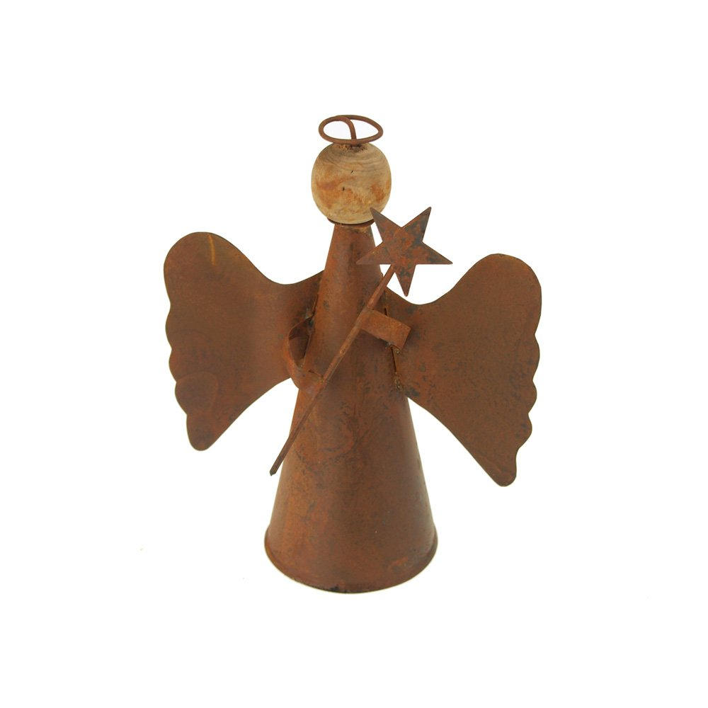 Homeford FKR00000KK8014MA Christmas Rusty Tin Angel with Wood Head and Halo, 6-1/2'', Rust