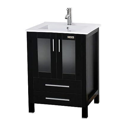 eclife 24\  Bathroom Vanity Sink Combo W/Overflow White Drop In Ceramic Sink Top \u0026 Black MDF Modern ...  sc 1 st  Amazon.com & eclife 24\