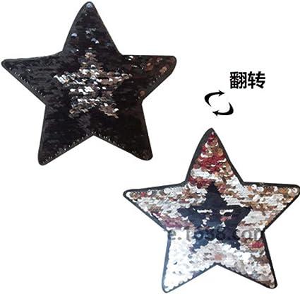 TOSSPER 2pcs Estrellas Ojos Reversible de Cambio de Las Lentejuelas de Color Cosa en Parches para la Ropa DIY Coat Applique del Remiendo Ropa Crafts su/éter