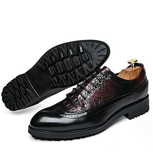 Robe Rouge Deux De Peau Mariage En Tons Lacets chaussures Hommes Synthétique Gaufrage Imperméable Pour Bout Serpent Cuir Mocassins D'affaires Droit Chaussures Cricket YxO01q