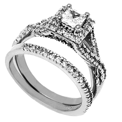 3 Pieces Men's and Women's, His & Hers, 925 Genuine Solid Sterling Silver & Rope Titanium Engagement Matching Wedding Ring Set