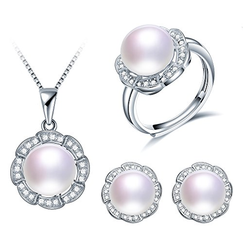 Deluxe Jewelry Set For Women By Diamovi - 100% Natural Freshwater Pearl Necklace, Earrings & Ring - 925 Sterling Silver W/ Flower Design - 45 Cm Chain W/8-9 MM Pearl - Available In (White)