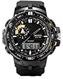 Large Dual Dial Analog Digital Quartz Electronic Wrist Watches For boys watch 10 years Black+Gold