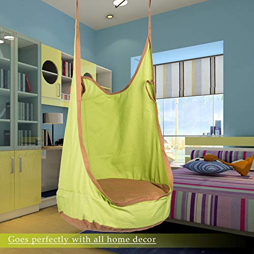 CO-Z Kids Pod Swing Seat Child Hanging Hammock Chair Indoor Outdoor Kid Hammock Seat Pod Nook (Upgraded Two Straps, Green)