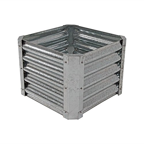 Sunnydaze Raised Metal Garden Bed Kit, Galvanized Steel 22-Inch Square Planter for Plants and Vegetables, 16 Inches Deep ()