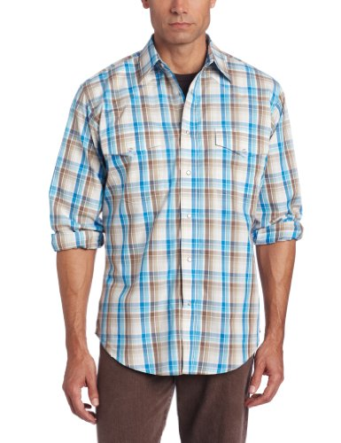 Wrangler Men's Wrinkle Resist Long Sleeve Western Shirt, Brown/Blue, - Resist Shirt Wrinkle Poplin