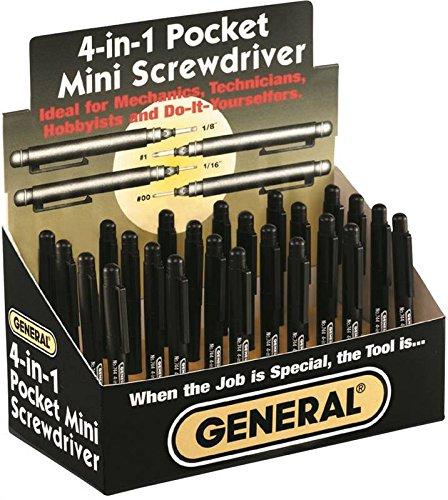 4in 1 Mini Screwdriver - General 744DB 24 Piece Display 4-In-1 Mini Screwdriver
