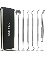 Dental Tools Professional Teeth Cleaning Tools Dental Hygiene kit Stainless Steel Dental Picks Oral Care set to Remover Plaque Tartar,tooth scraper,Mouth Mirror,Tooth Scaler home use (6 Tools)