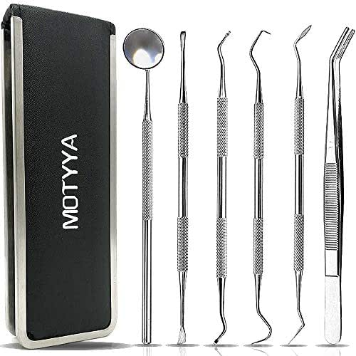 Dental Tools, MOTYYA Teeth Cleaning Tools kit Professional Tooth Hygiene Stainless Steel Dental Picks Oral Care set to Remover Tartar, tooth scraper,Mouth Mirror,Tooth Scaler home use (6 Tools)