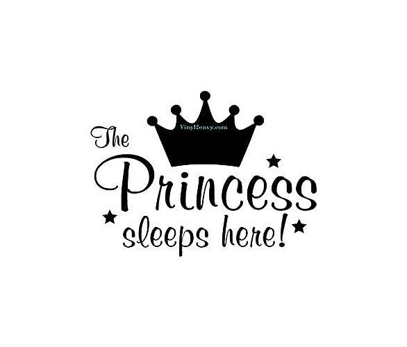 Amazon com: The Princess Sleeps Here - Wall Decal - Vinyl Wall Decal