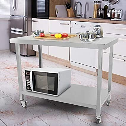 Lyrlody Tavoli Da Lavoro Commerciali Tavolo Con Ruote Piano Di Lavoro In Acciaio Inox Attrezzature Da Cucina Tavolo Con Ruote 115 80 60cm Amazon It Casa E Cucina
