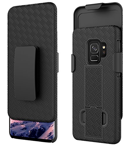 Ailiber Galaxy S9 Slim Armor Holster Clip Case, Combo Dual Layer Shock Proof Screen Shell Portable Protector, Rotate Belt Clip with Built-in Kickstand Cover for Samsung Galaxy S9 (5.8 inch) – Black