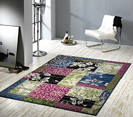 Designer Rug Modern Living Room Rug Wohnteppich Wohnzimmerteppich Runner  Rug Velour Rug With Patchwork Effect Border