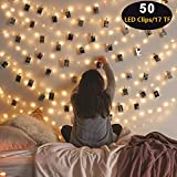 2019 Upgrade Version 50 LED Photo Clip String Lights -LED String Lights - 8 Modes Waterproof USB/Battery Powered Decor Lights with 50 Clear Clips for Birthday Party Room Wall Decor Wedding Festival