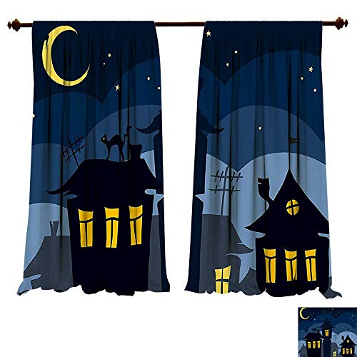 fengruiyanjing-Home Window Curtain Drape Halloween Old Town Cat on The Roof Night Sky Moon Stars Houses Cartoon Art Black Yellow Blue Decorative Curtains Living Room (W72 x L96 -Inch 2 Panels) ()