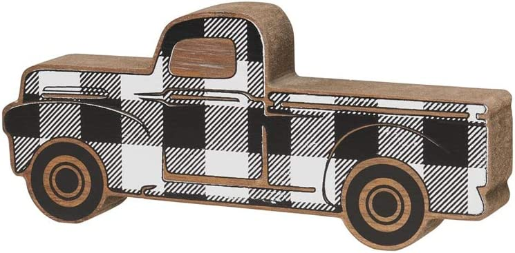 Collins Rustic Wooden Pickup Truck Shelf Sitter (Plaid, Small)