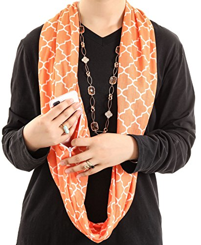 Infinity Scarf Black for Iphone Lipstick Passport Travel Solid Pocket Wrap Zip
