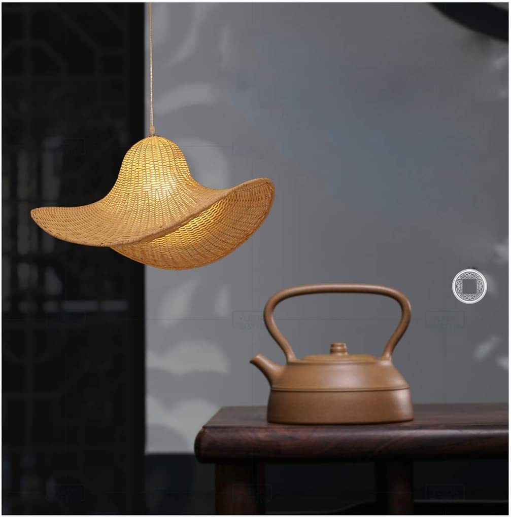 Lustre Vintage lustre en bambou jardin cr/éatif chapeau de paille en bambou plafonnier rotin tropical abat-jour tress/é pour salon chambre cuisine